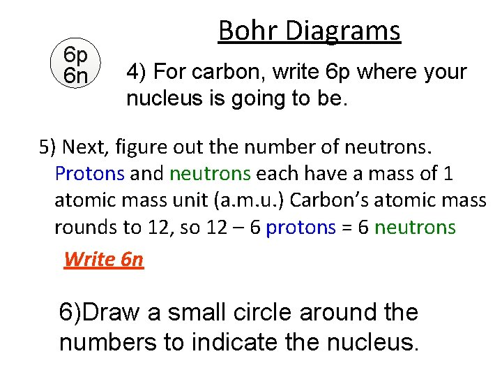 6 p 6 n Bohr Diagrams 4) For carbon, write 6 p where your