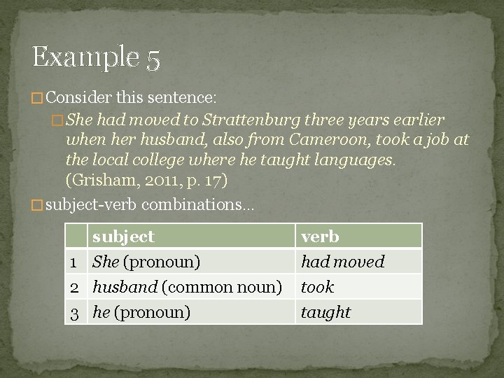 Example 5 � Consider this sentence: � She had moved to Strattenburg three years