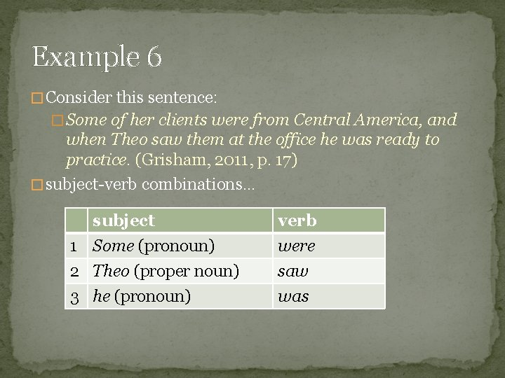 Example 6 � Consider this sentence: � Some of her clients were from Central