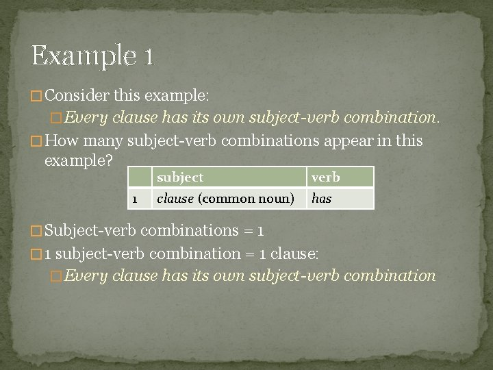 Example 1 � Consider this example: � Every clause has its own subject-verb combination.