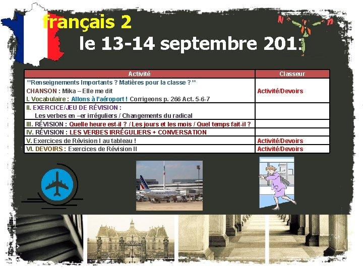 français 2 le 13 -14 septembre 2011 Activité Classeur **Renseignements Importants ? Matières pour