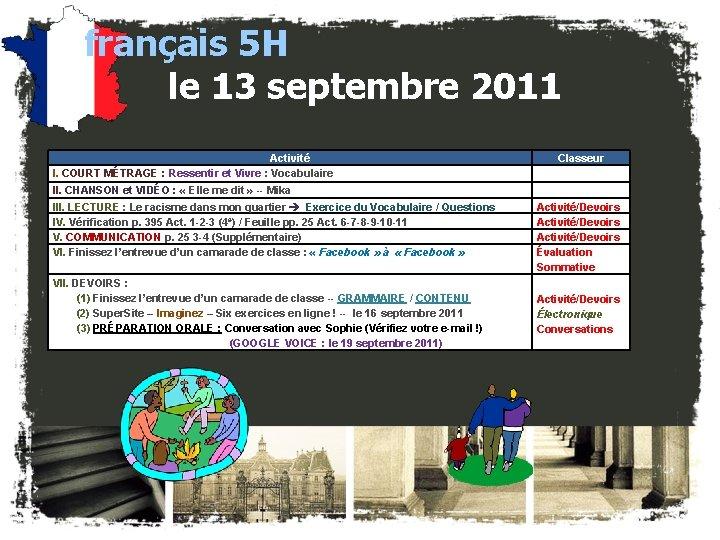 français 5 H le 13 septembre 2011 Activité I. COURT MÉTRAGE : Ressentir et