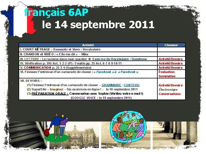 français 6 AP le 14 septembre 2011 Activité I. COURT MÉTRAGE : Ressentir et