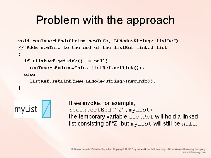 Problem with the approach void rec. Insert. End(String new. Info, LLNode<String> list. Ref) //