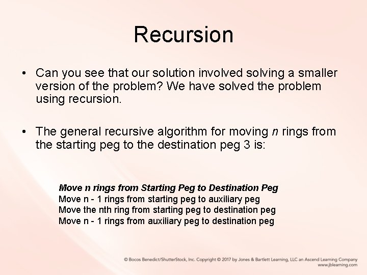 Recursion • Can you see that our solution involved solving a smaller version of