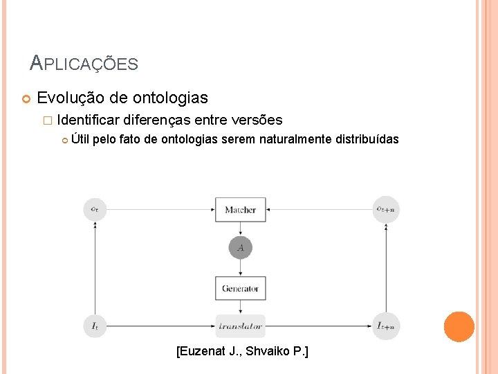 APLICAÇÕES Evolução de ontologias � Identificar diferenças entre versões Útil pelo fato de ontologias
