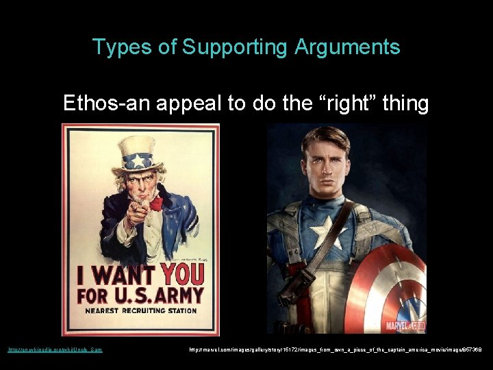 """Types of Supporting Arguments Ethos-an appeal to do the """"right"""" thing http: //en. wikipedia."""