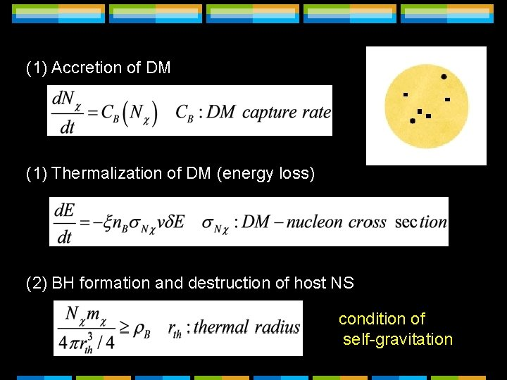 (1) Accretion of DM (1) Thermalization of DM (energy loss) (2) BH formation and
