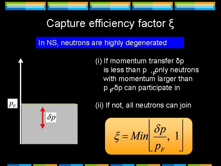 Capture efficiency factor ξ In NS, neutrons are highly degenerated (i) If momentum transfer