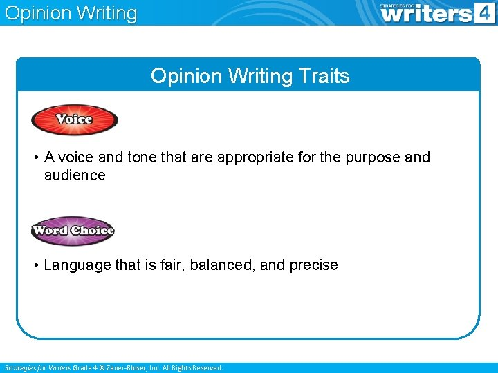 Opinion Writing Traits • A voice and tone that are appropriate for the purpose