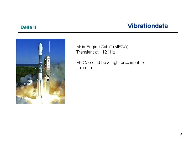 Delta II Vibrationdata Main Engine Cutoff (MECO) Transient at ~120 Hz MECO could be