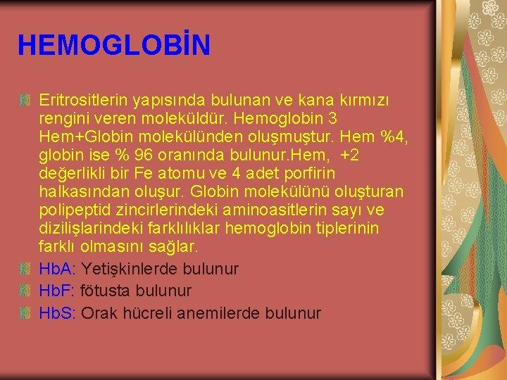 HEMOGLOBİN Eritrositlerin yapısında bulunan ve kana kırmızı rengini veren moleküldür. Hemoglobin 3 Hem+Globin molekülünden