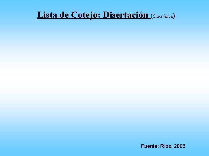 Lista de Cotejo: Disertación (Sincrónica) Fuente: Ríos, 2005