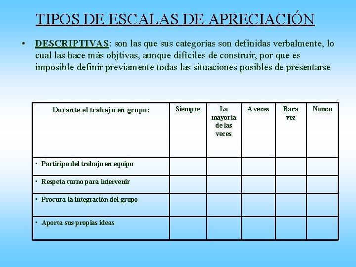 TIPOS DE ESCALAS DE APRECIACIÓN • DESCRIPTIVAS: son las que sus categorías son definidas