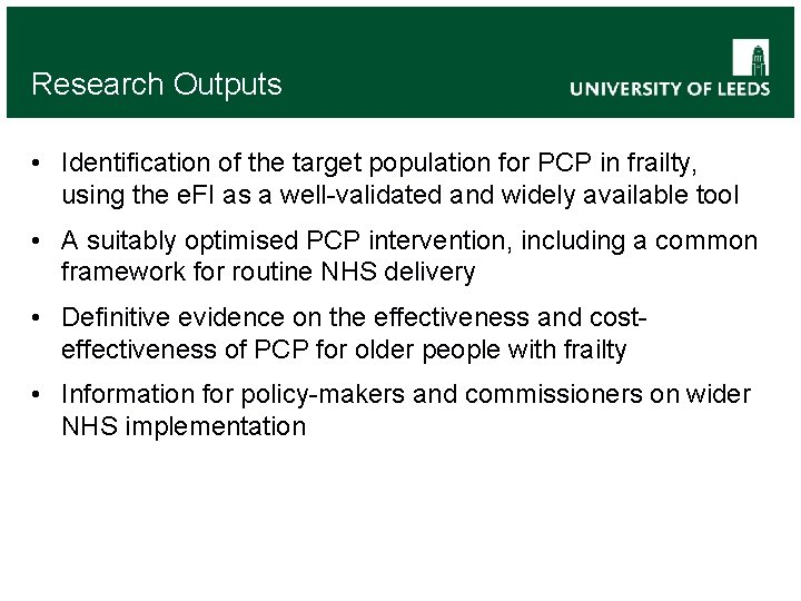 Research Outputs • Identification of the target population for PCP in frailty, using the