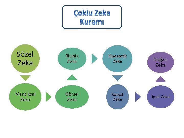 Sözel Zeka Ritmik Zeka Kinestetik Zeka Mantıksal Zeka Görsel Zeka Sosyal Zeka Doğacı Zeka