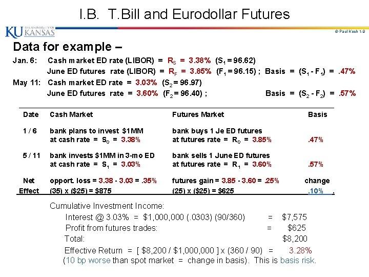 I. B. T. Bill and Eurodollar Futures © Paul Koch 1 -9 Data for