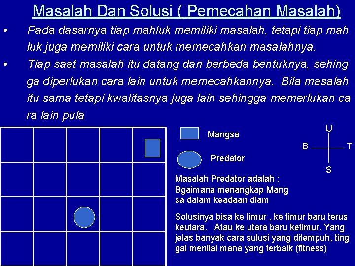 Masalah Dan Solusi ( Pemecahan Masalah) • • Pada dasarnya tiap mahluk memiliki masalah,