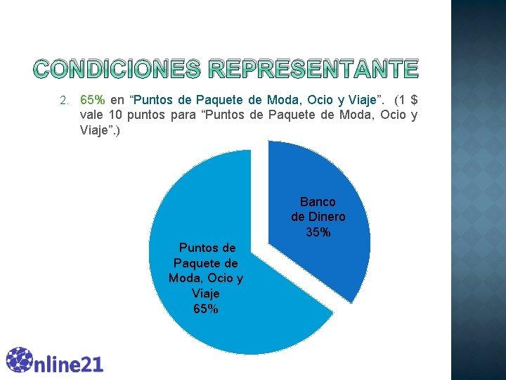 """CONDICIONES REPRESENTANTE 2. 65% en """"Puntos de Paquete de Moda, Ocio y Viaje"""". (1"""