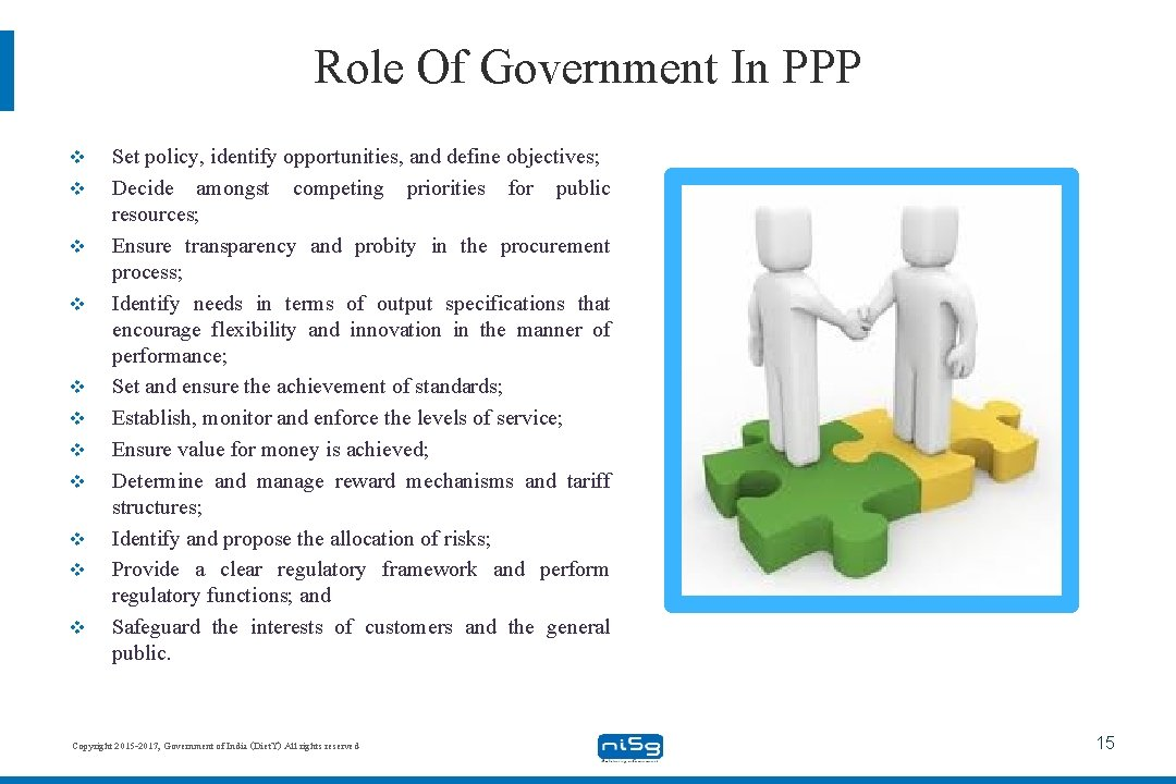 Role Of Government In PPP v v v Set policy, identify opportunities, and define