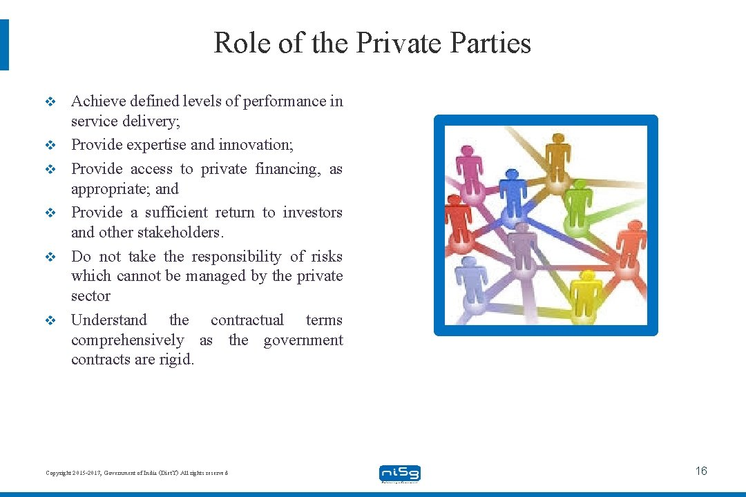 Role of the Private Parties v v v Achieve defined levels of performance in