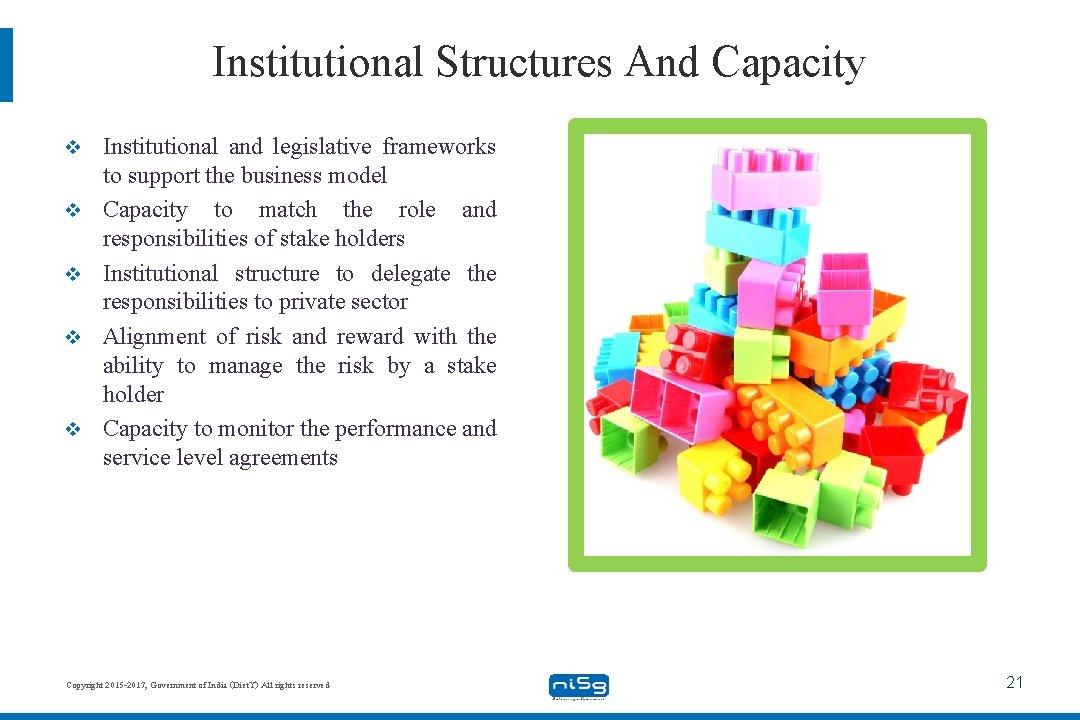 Institutional Structures And Capacity v v v Institutional and legislative frameworks to support the