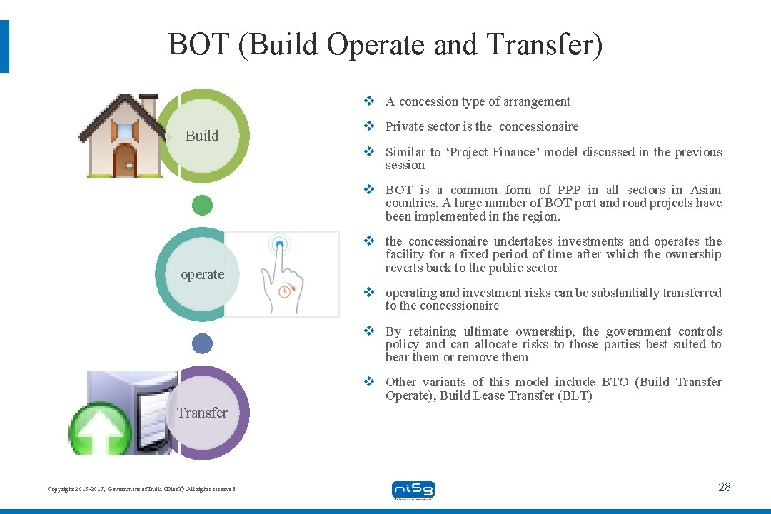 BOT (Build Operate and Transfer) v A concession type of arrangement Build v Private