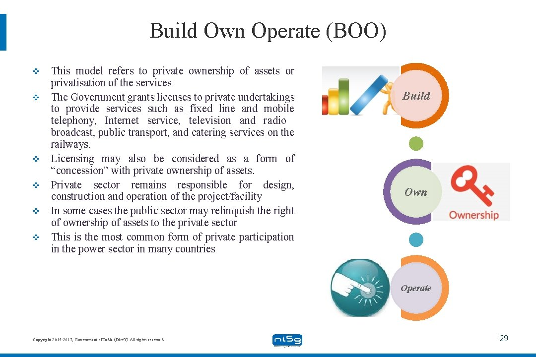 Build Own Operate (BOO) v v v This model refers to private ownership of