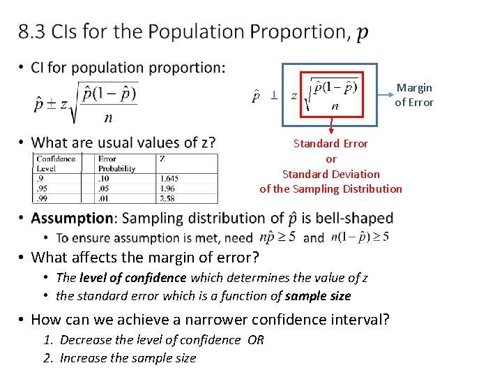 • Margin of Error Standard Error or Standard Deviation of the Sampling Distribution