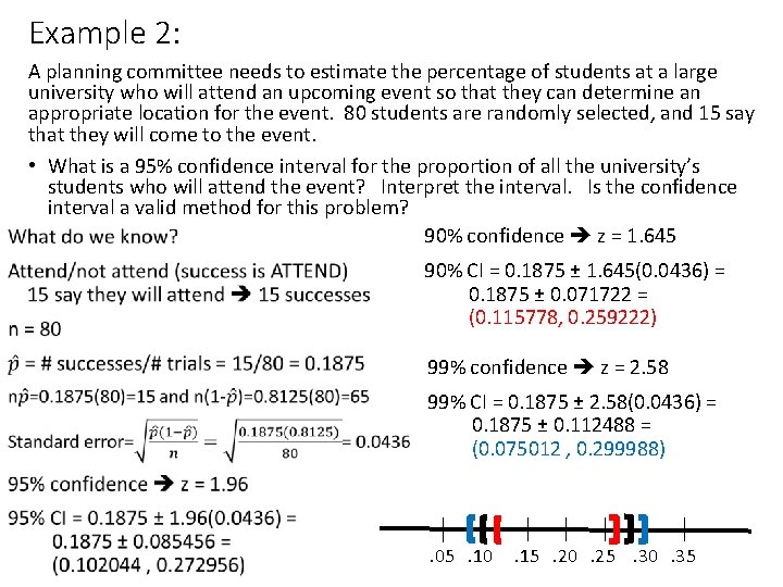 Example 2: A planning committee needs to estimate the percentage of students at a