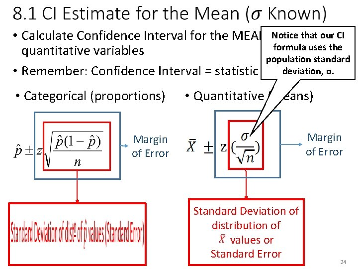 Notice that our CI • Calculate Confidence Interval for the MEAN, µ, formula