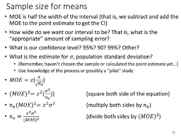 Sample size for means • 35