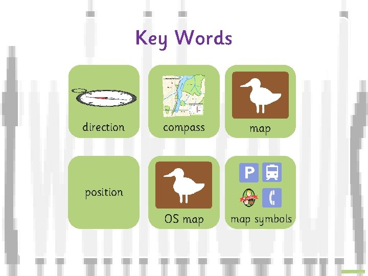 Key Words direction compass map OS map symbols position