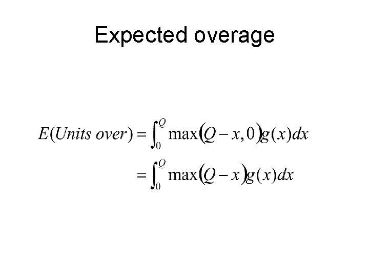 Expected overage