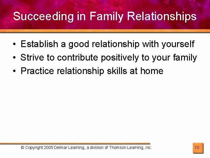 Succeeding in Family Relationships • Establish a good relationship with yourself • Strive to
