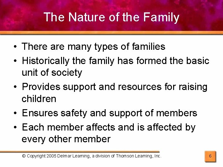 The Nature of the Family • There are many types of families • Historically