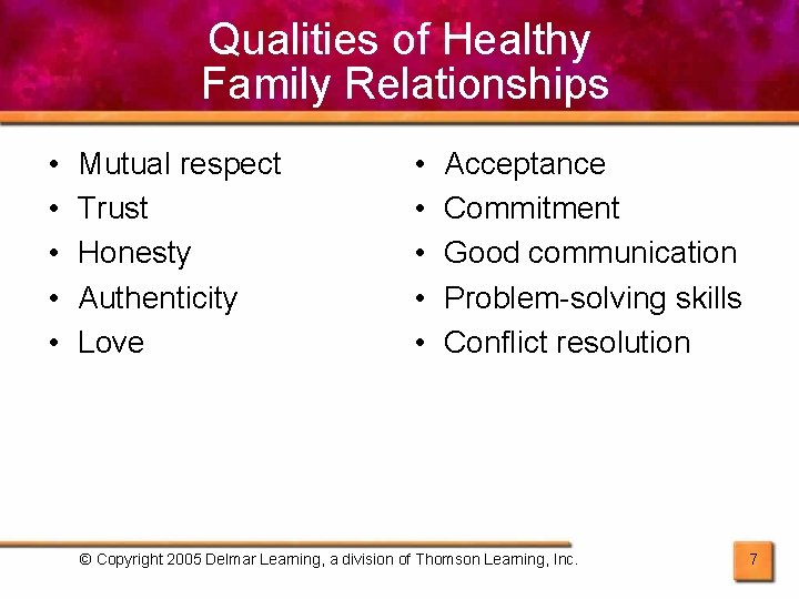 Qualities of Healthy Family Relationships • • • Mutual respect Trust Honesty Authenticity Love