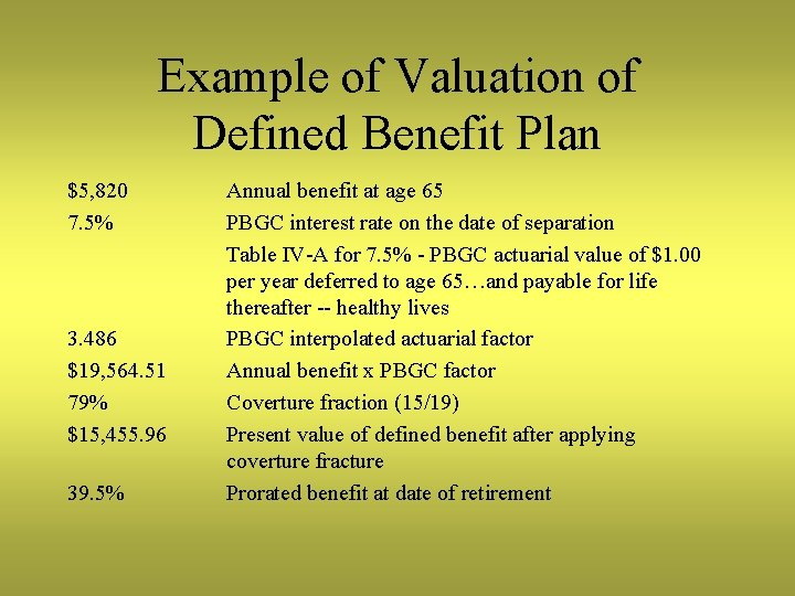 Example of Valuation of Defined Benefit Plan $5, 820 7. 5% 3. 486 $19,