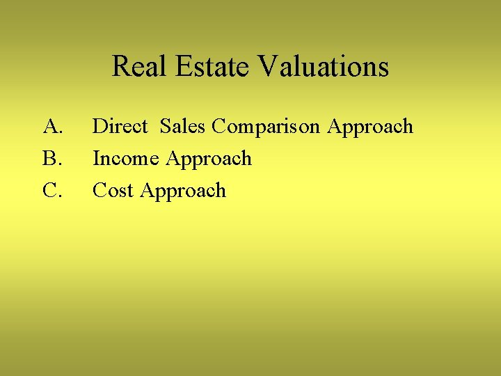 Real Estate Valuations A. B. C. Direct Sales Comparison Approach Income Approach Cost Approach