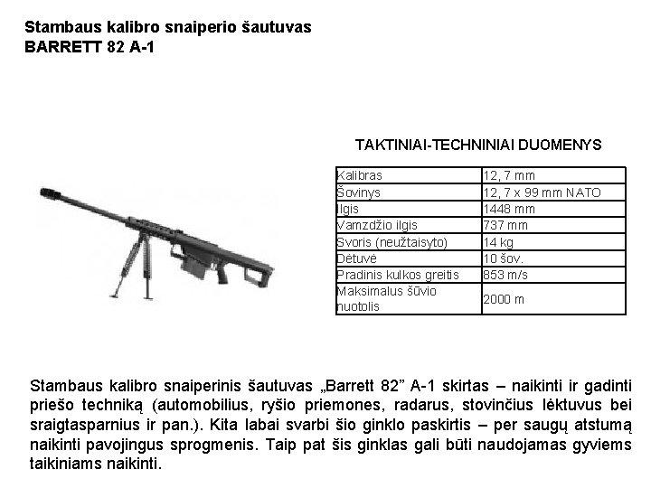 Stambaus kalibro snaiperio šautuvas BARRETT 82 A-1 TAKTINIAI-TECHNINIAI DUOMENYS Kalibras Šovinys Ilgis Vamzdžio ilgis