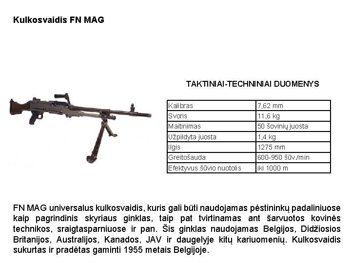 Kulkosvaidis FN MAG TAKTINIAI-TECHNINIAI DUOMENYS Kalibras 7, 62 mm Svoris 11, 6 kg Maitinimas