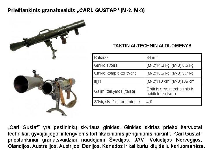"""Prieštankinis granatsvaidis """"CARL GUSTAF"""" (M-2, M-3) TAKTINIAI-TECHNINIAI DUOMENYS Kalibras 84 mm Ginklo svoris (M-2)14,"""