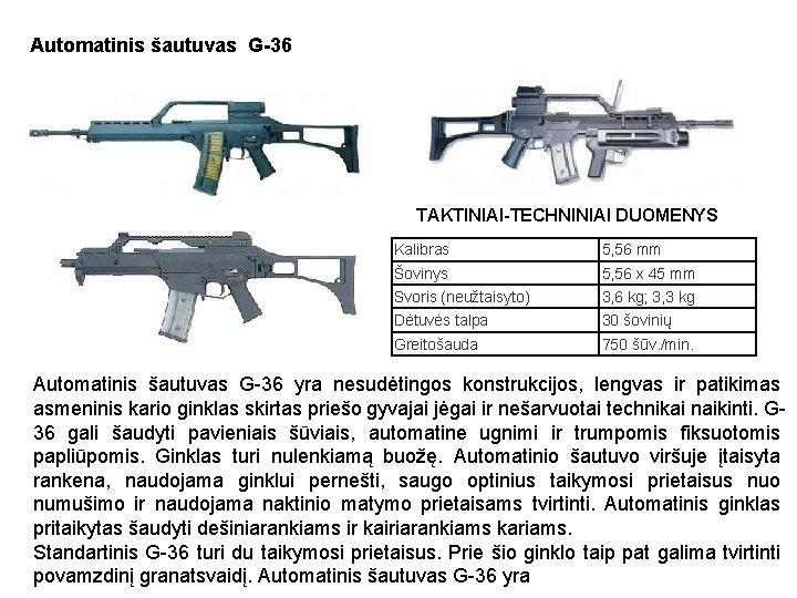 Automatinis šautuvas G-36 TAKTINIAI-TECHNINIAI DUOMENYS Kalibras 5, 56 mm Šovinys 5, 56 x 45
