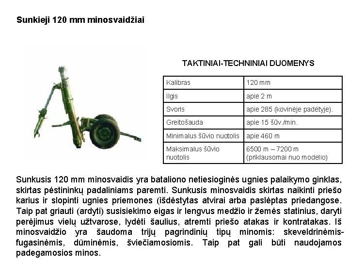 Sunkieji 120 mm minosvaidžiai TAKTINIAI-TECHNINIAI DUOMENYS Kalibras 120 mm Ilgis apie 2 m Svoris