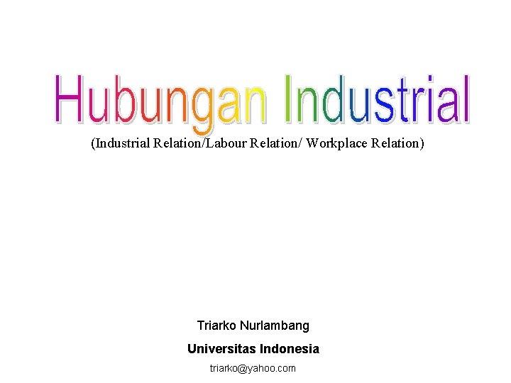 (Industrial Relation/Labour Relation/ Workplace Relation) Triarko Nurlambang Universitas Indonesia triarko@yahoo. com