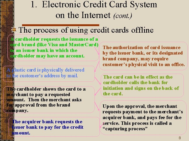 1. Electronic Credit Card System on the Internet (cont. ) The process of using