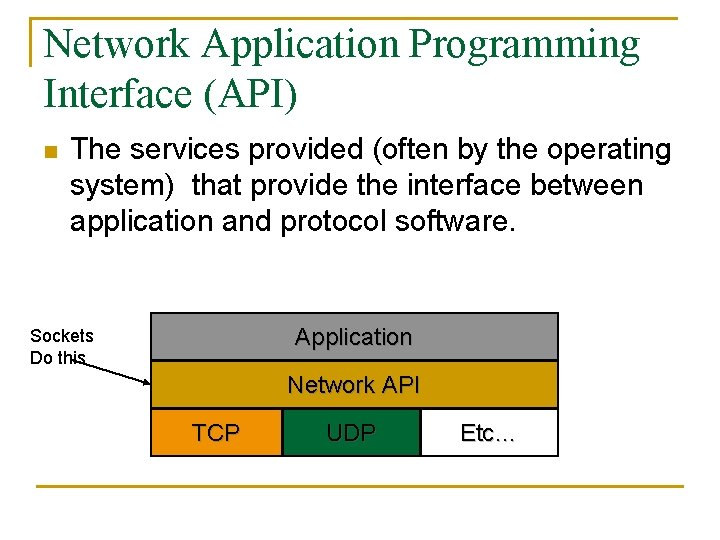Network Application Programming Interface (API) n The services provided (often by the operating system)