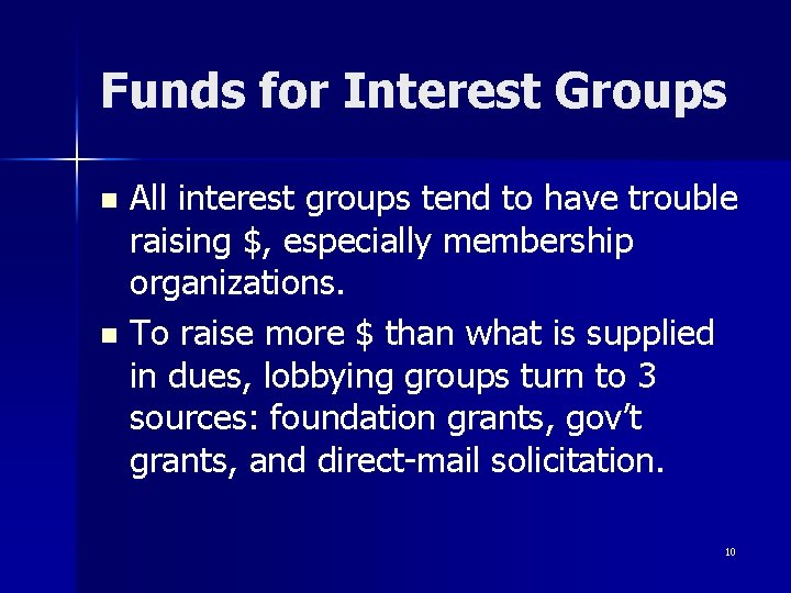 Funds for Interest Groups All interest groups tend to have trouble raising $, especially