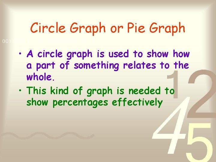 Circle Graph or Pie Graph • A circle graph is used to show a