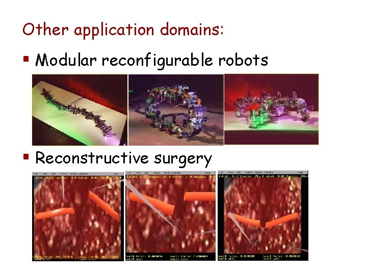 Other application domains: § Modular reconfigurable robots § Reconstructive surgery